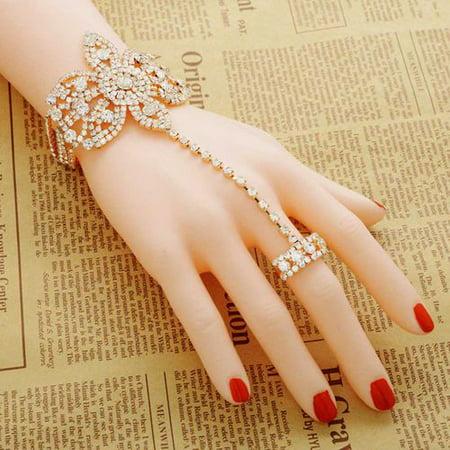 Bangle Silver Ring - AkoaDa Flower Shape Bracelet Bangle Finger Ring Hand Chain Fashion Jewelry Vogue Magic