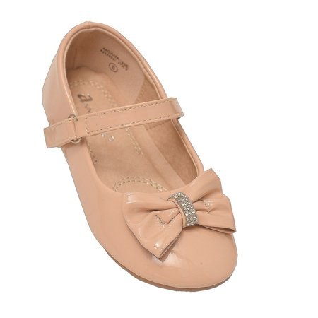 Anne Marie Little Girls Nude Rhinestone Bow Mary Jane Shoes