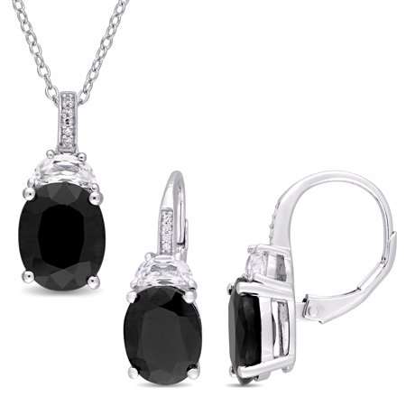 Sterling Silver Black Sapphire Created White Sapphire and Diamond Accent 2-Piece Necklace and Earrings
