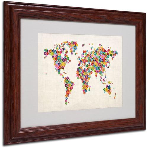 "Trademark Fine Art ""Flowers World Map"" Matted Framed Art by Michael Tompsett"