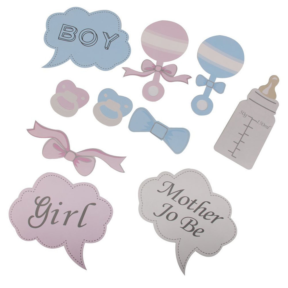 10pcs Baby Shower Party Decor Photo Props on Sticks