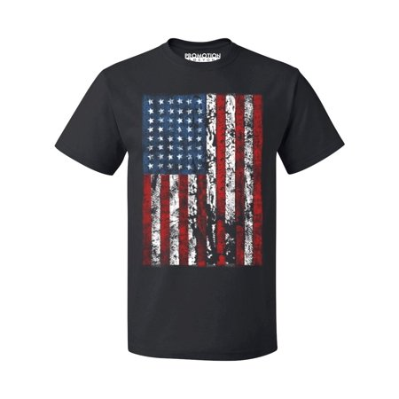 P&B Distressed USA Flag 4th of July Independence Day Men's T-shirt, Black, (4th Of July T Shirts To Make)