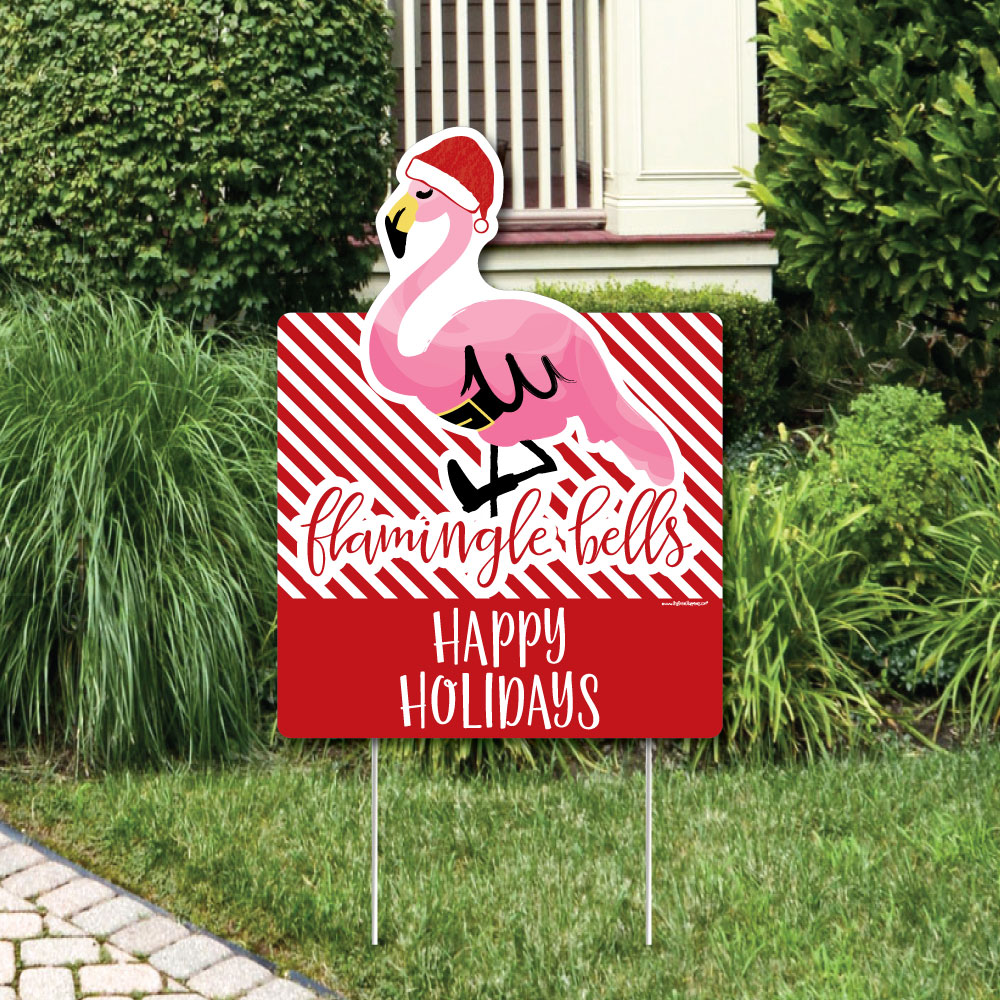 Flamingle Bells - Party Decorations - Tropical Flamingo Christmas Welcome Yard Sign
