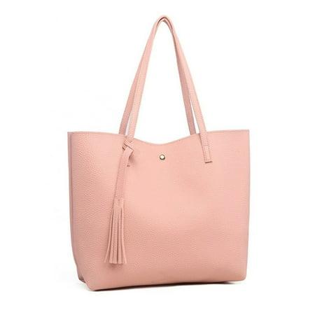 8175807ea131 Women PU Leather Handbag Shoulder Bag Ladies Solid Color Purse ...