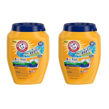 Easy Paks Detergent ((2 pack) Arm & Hammer Plus OxiClean 3-IN-1 Power Paks - Single Use Laundry Detergent, 58)