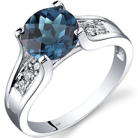 - Peora 2.25 Carat T.G.W. Round-Cut London Blue Topaz and Diamond Accent 14kt White Gold Ring Size 7