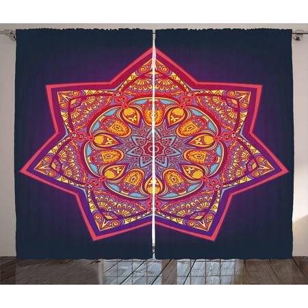 Lotus Curtains 2 Panels Set, Ornamental Vibrant Mandala Universe Kaleidoscope Folk Tribal Meditation Illustration, Window Drapes for Living Room Bedroom, 108W X 63L Inches, Multicolor, by Ambesonne