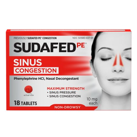 Sudafed PE Maximum Strength Non-Drowsy Sinus Decongestant, 18 ct