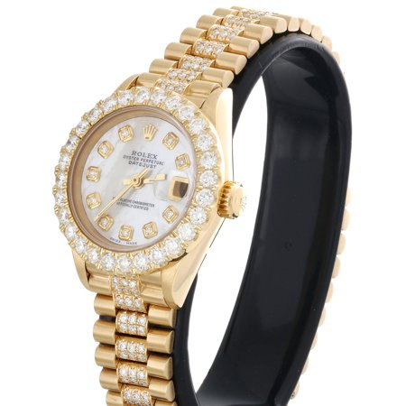 Best Rolex 18K Gold President 26mm DateJust 69178 VS Diamond White MOP Watch 4.46 CT. deal