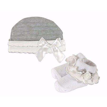Shimmer Cap & Sock Set-Gray w/Cream Ruffle & Silver Accents (0-6 Mo)
