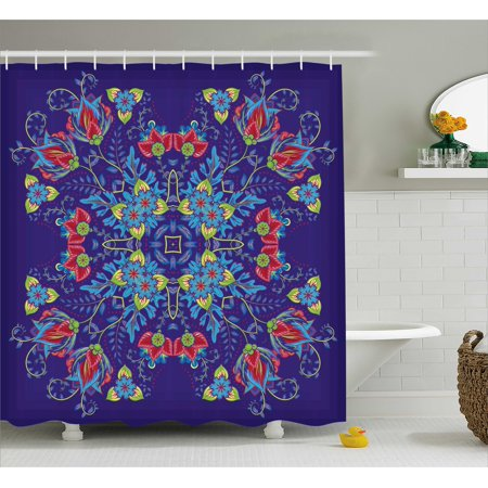 Batik Shower Curtain Bohemian Malaysian Floral Bouquet Corsage Ornamental Royal Asian Artistic Image Fabric