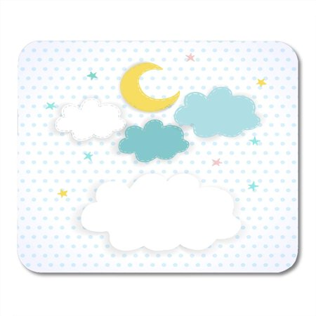 LADDKE Blue Baby Moon Clouds and Stars on The with Polka Dots Children Sweet of Night Sky with Place for Text 10 Mousepad Mouse Pad Mouse Mat 9x10 inch](Baby On Cloud)