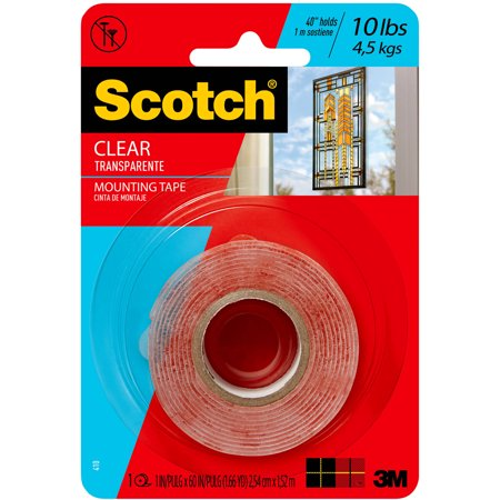 Scotch Clear Mounting Tape, 1 in. x 72 in., 1 Roll/pack