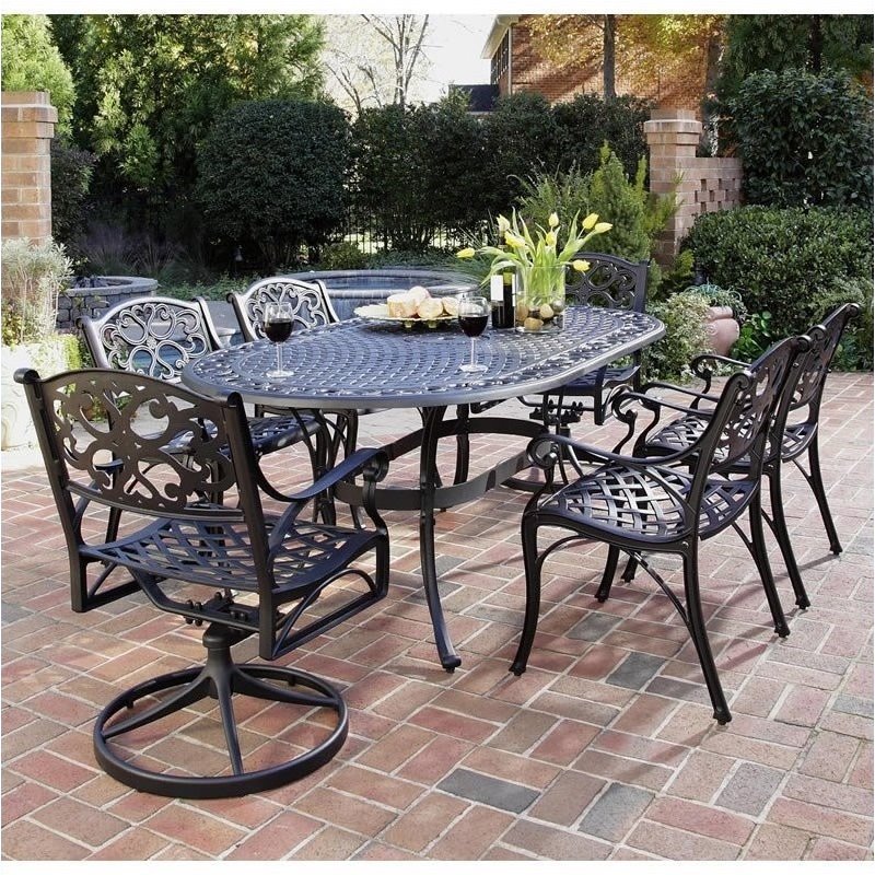Bowery Hill 7 Piece Metal Patio Dining Room Set in Black by Bowery Hill