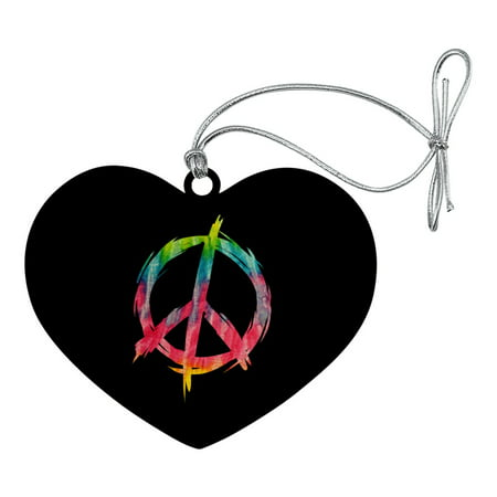 Tie Dye Peace Sign Heart Love Wood Christmas Tree Holiday Ornament - Tie Dye Peace Sign Tattoos
