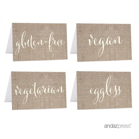 Vegan, Vegetarian, Gluten-Free, Eggless Tan Food Station Buffet Menu Place Cards, Country Chic Burlap, 20-Pack - Easy Halloween Party Food Menu