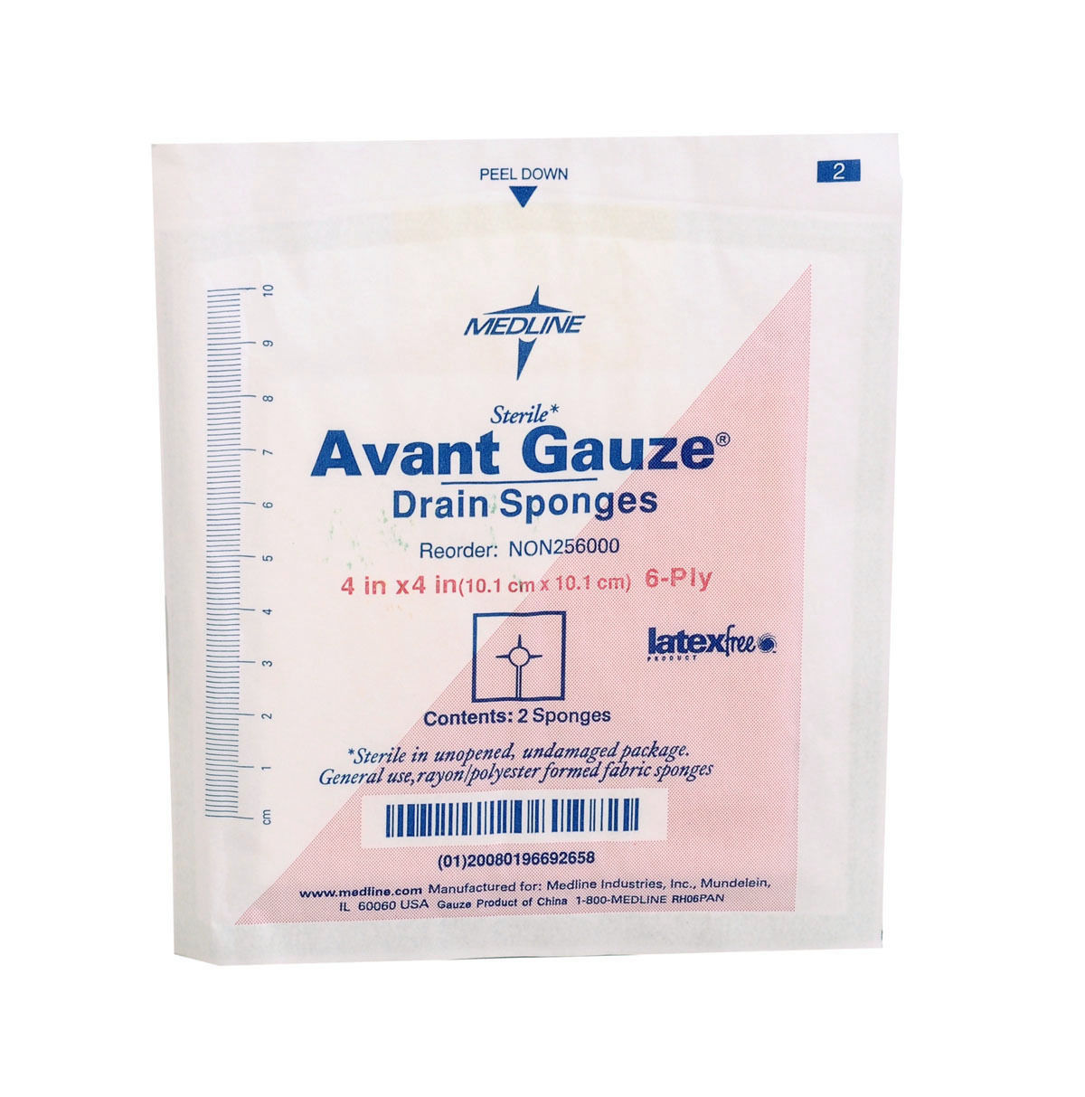 "New Medline Avant Gauze Sterile Drain Sponges, Wound, 4"" x 4"", 6 Ply Case Of 600"