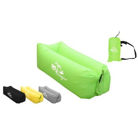 US Lounger Grass Green Headrest Fast Inflatable Portable Outdoor or Indoor Wind Bed Lounger, Air Bag Sofa, Air Sleeping Sofa Couch, Lazy Bed for Camping, Beach, Park, Backyard