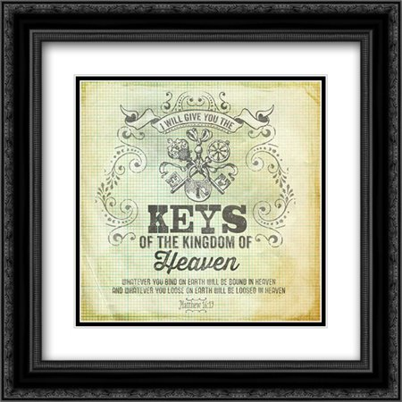 Vintage Paper Keys 2x Matted 20x20 Black Ornate Framed Art Print by Berndt, - Ornate Key
