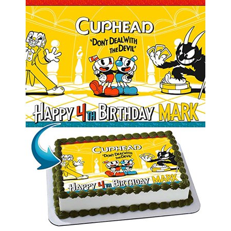 CupHead Edible Image Cake Topper Personalized Birthday 1/4 Sheet Decoration Custom Sheet Party Birthday Sugar Frosting Transfer Fondant Image Edible Image for cake (Custom Decorations)