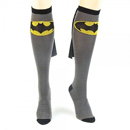 Bioworld DC Comics Batman Adult Knee High Caped Sock, One (Batman Sock Women)