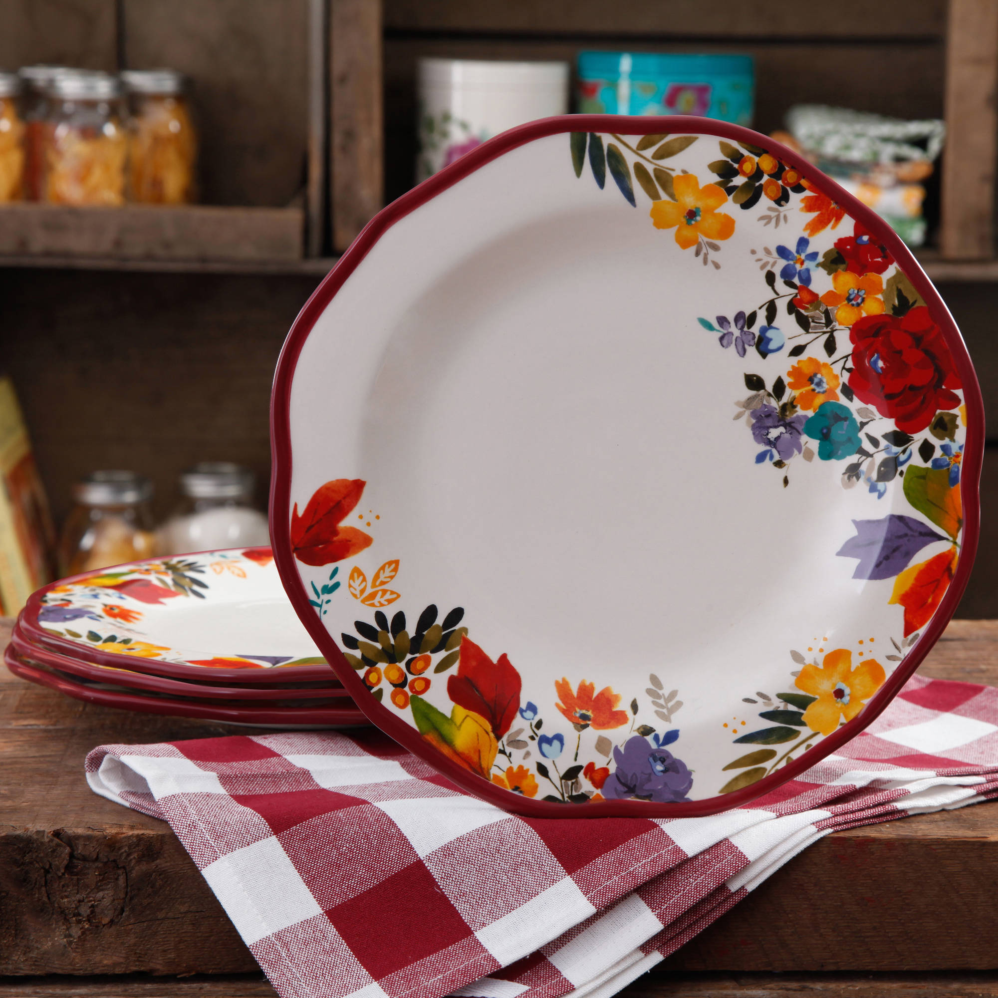 The Pioneer Woman Timeless Floral Dinner Plate Set, 4-Pack