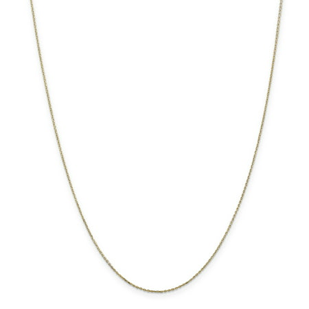 Yellow Gold Diamond Cable - 14K Yellow Gold .8mm Diamond Cut Cable Chain Necklace Size 30
