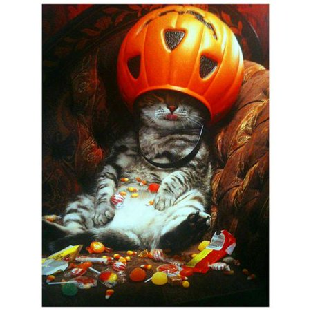 KABOER 1 Pcs Halloween Pumpkin Cat DIY 5D Diamond Painting by Number Kits Embroidery Cross Stitch - Face Painting Halloween Pumpkin