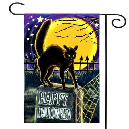 12.5'' x 18'' 30x45cm Cat On Headstone Halloween Garden Flag Happy Halloween Garden Flag Trick-or-Treater for Kids Gift Home House Family Garden School Market Decoration House Flag - image 1 of 4