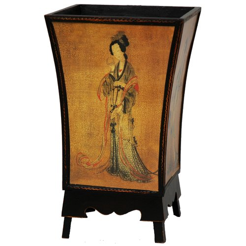 Oriental Furniture Enchanted Lady Waste Basket