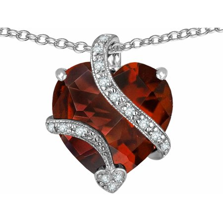 Star K Large 15Mm Heart Shape Simulated Garnet Love Pendant Necklace In Sterling Silver