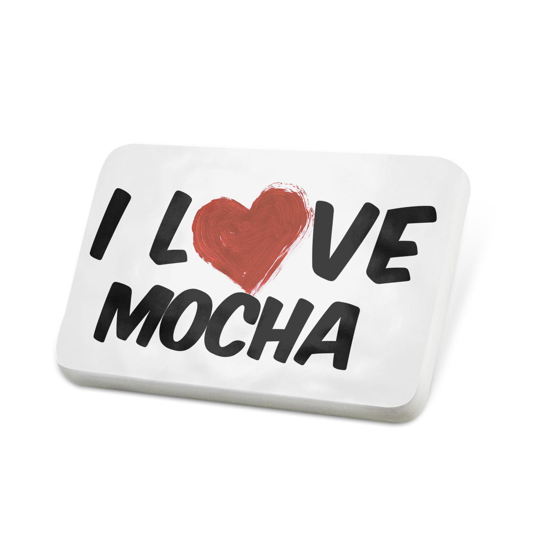Porcelein Pin I Love Mocha Coffee Lapel Badge – NEONBLOND