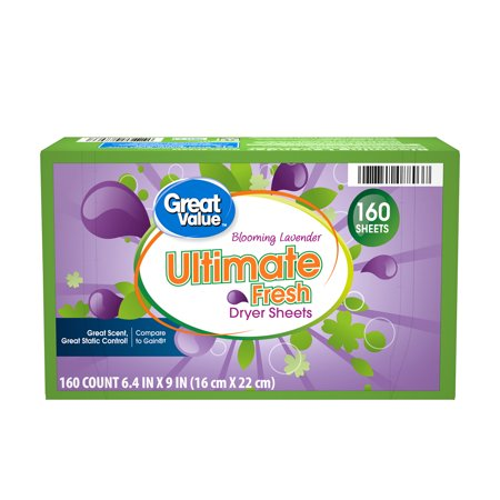 Great Value Ultimate Fresh Blooming Lavender Dryer Sheets, 160 count Dryer Sheet Coupons