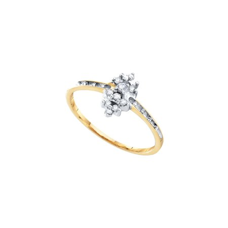 Ladies Round Prong Set (10kt Yellow Gold Womens Round Prong-set Diamond Small Cluster Ring 1/8 Cttw)