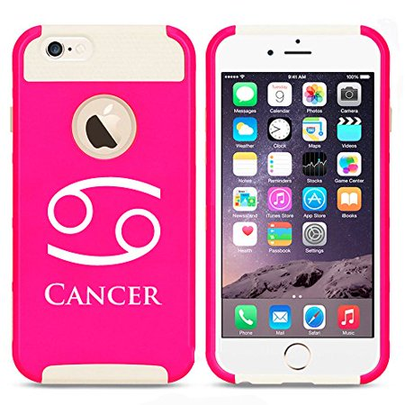 (For Apple (iPhone 8) Shockproof Impact Hard Soft Case Cover Cancer Zodiac Horoscope Birth Sign (Hot Pink-White))
