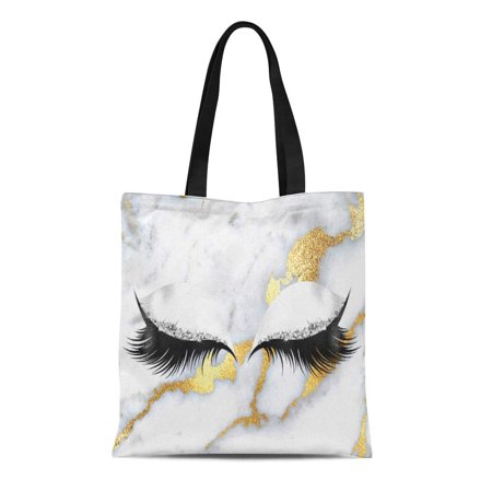 - ASHLEIGH Canvas Tote Bag Lashes Gold Gray Black Makeup Marble Stone Sparkly Diamond Reusable Handbag Shoulder Grocery Shopping Bags