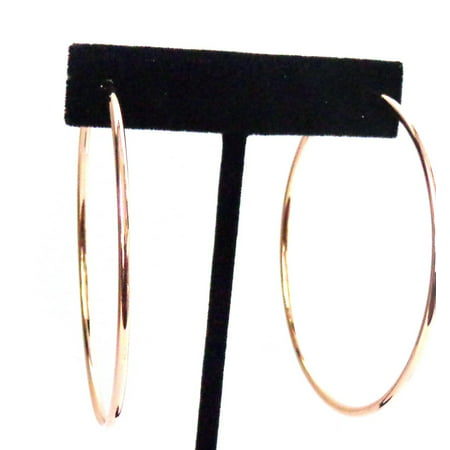 Clip-on Earrings Simple Thin Plated Rose Gold Hoop Earrings 2.25 inch Hoops