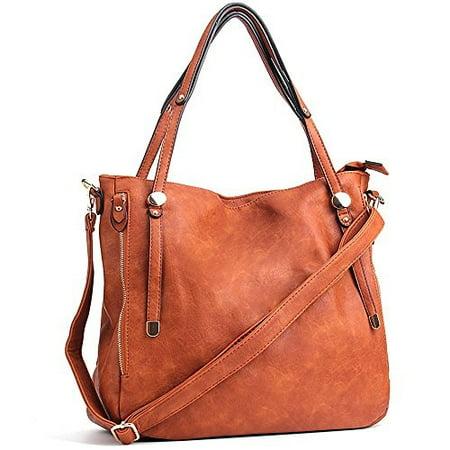 94b48556422 WISHESGEM Women Handbags PU Leather Tote Shoulder Bags Satchel Zipper Cross  Body Bags Brown