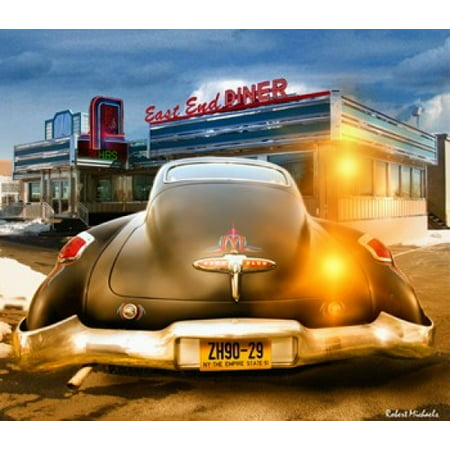 1950 Diner Decor (1950 Buick Dynaflow at the Diner Canvas Art - Robert Michaels (18 x)