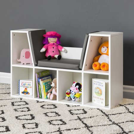 Kids Nook (Best Choice Products Multi-Purpose 6-Cubby Kids Bedroom Storage Organizer Bookcases Shelf Furniture Decoration w/ Cushioned Reading Nook -)