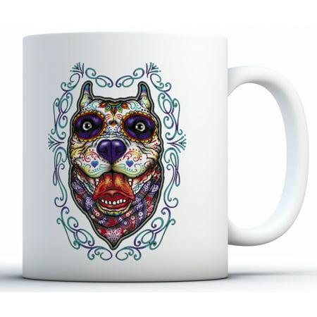 Awkward Styles Pitbull Skull Mugs Skull Coffee Mug Skull Gifts Day of the Dead Mug Dog Mug Party Supplies Dia de los Muertos Gifts Candy Skull Accessories](Day Of The Dead Candy)