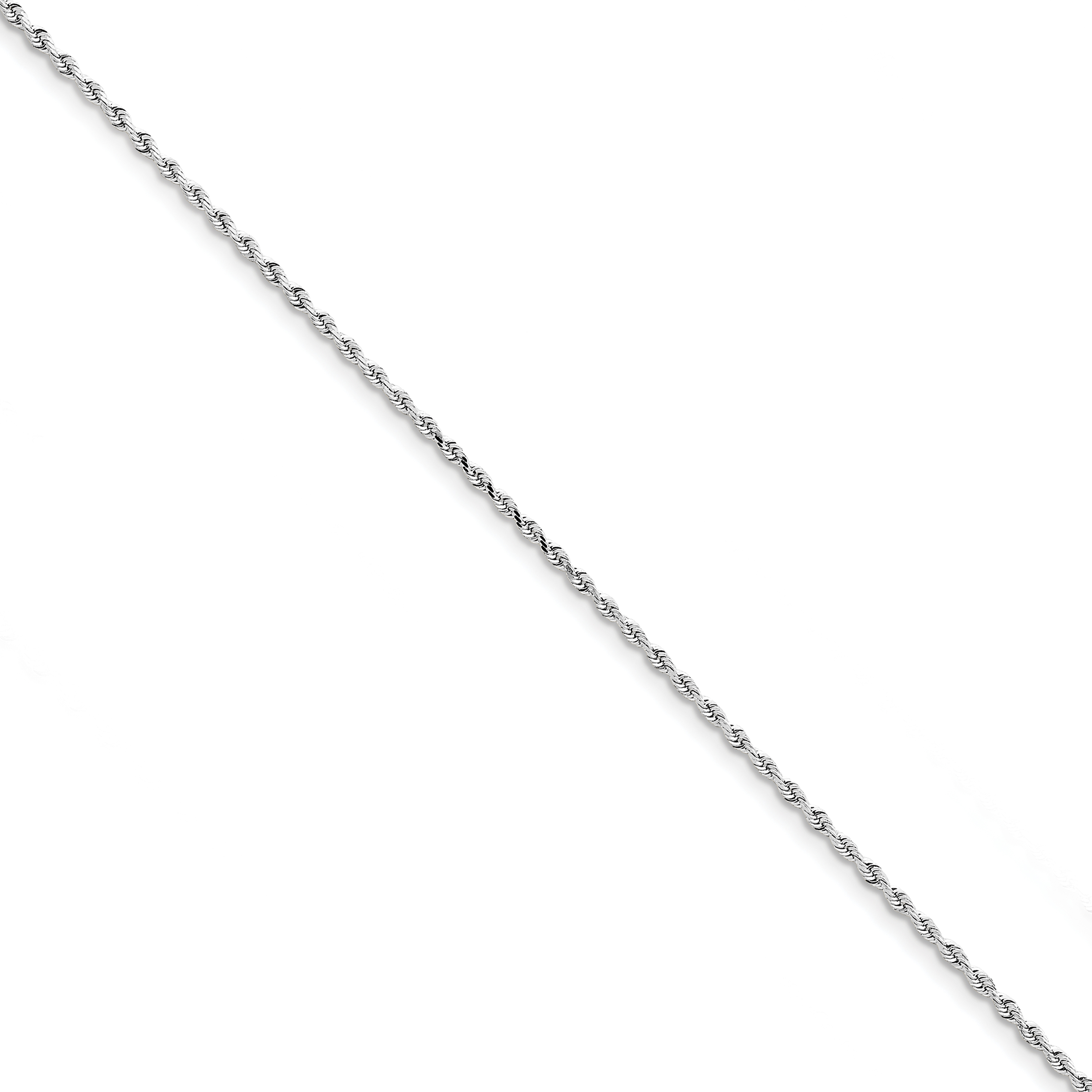10K White Gold 2.00mm Diamond Cut Quadruple Rope Chain Anklet 9 Inch - image 2 of 2