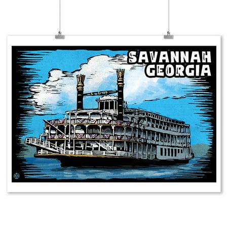 Paddle Wheeler - Savannah, Georgia - Paddle Wheeler Scratchboard - Lantern Press Artwork (9x12 Art Print, Wall Decor Travel Poster)