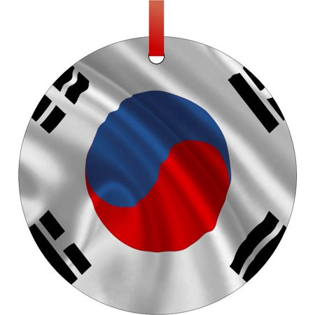 South Korean Flag-South Korea Flat Round - Shaped Christmas Holiday Hanging Tree Ornament Disc Made in the U.S.A.