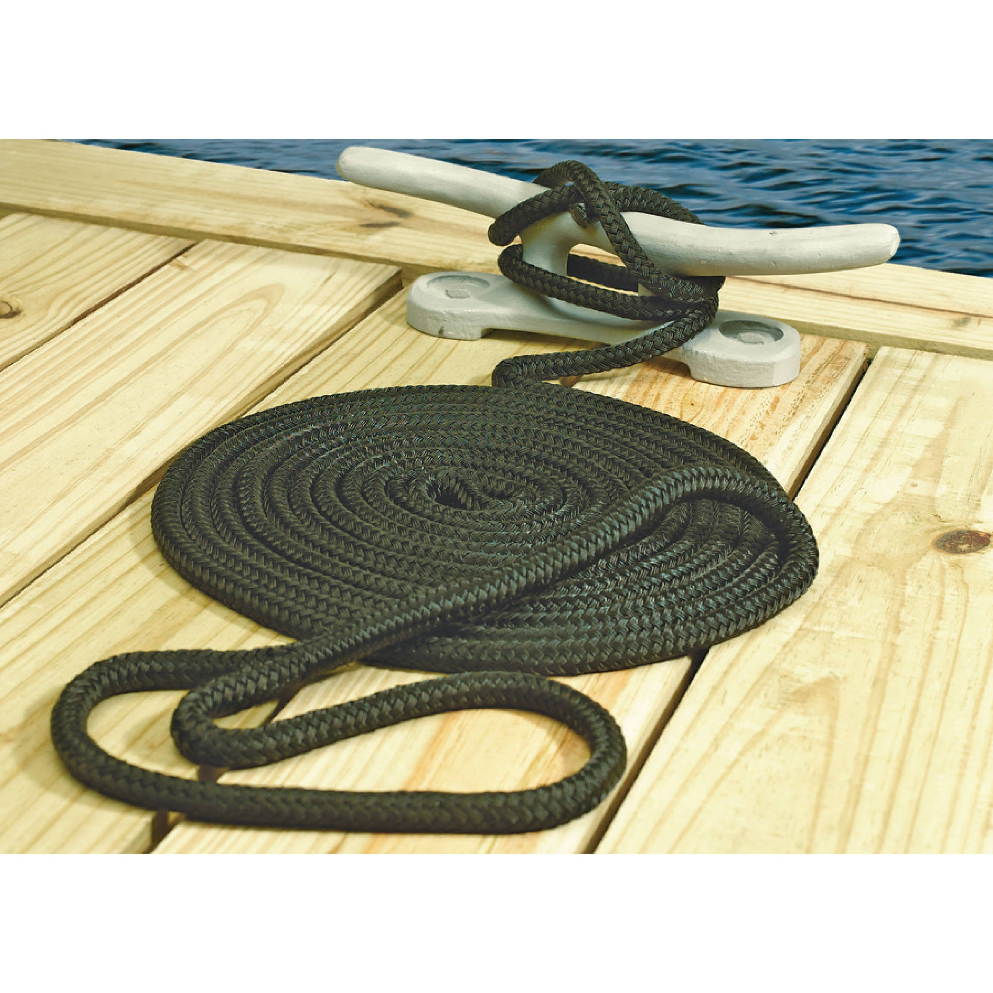 "Seachoice Double Braided Nylon Dock Line, 5/8"" x 20', Navy"