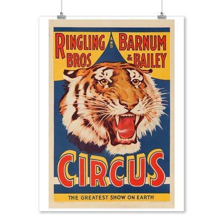 USA - Ringling Bros & Barnum & Bailey Circus (tiger head) - Vintage Advertisement (9x12 Art Print, Wall Decor Travel Poster)