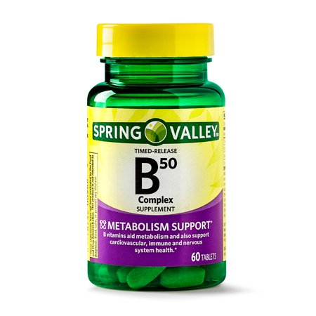 (2 Pack) Spring Valley Vitamin B50 Complex Timed Release Tablets, 60 Ct