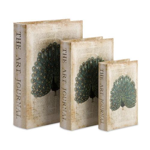 Wildon Home   Peacock Book Boxes (Set of 3)