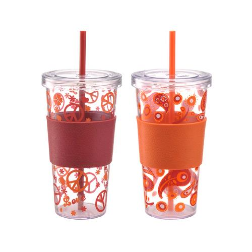 Lifetime Brands 5095310 Iced Beverage Cup, Single-Wall Plastic, Red Sleeve, 24-oz., 2-Pk. - Quantity 1