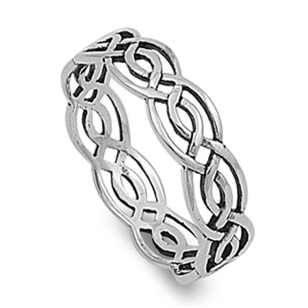 Sterling Silver Women's Celtic Infinity Ring Wholesale 925 Band 5mm Size 14 925 Silver Celtic Ring